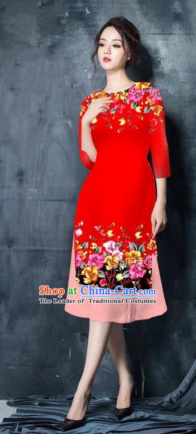 Top Grade Asian Vietnamese Costumes Classical Jing Nationality Short Cheongsam, Vietnam National Vietnamese Bride Traditional Princess Red Ao Dai Dress