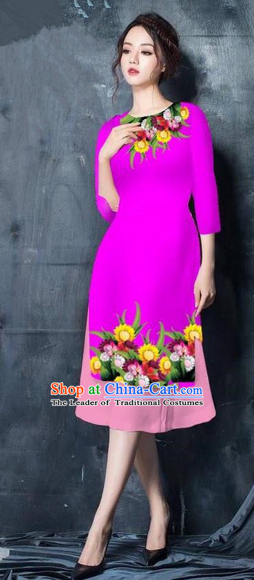 Top Grade Asian Vietnamese Costumes Classical Jing Nationality Short Cheongsam, Vietnam National Vietnamese Bride Traditional Princess Rosy Ao Dai Dress