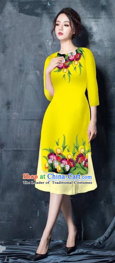 Top Grade Asian Vietnamese Costumes Classical Jing Nationality Short Cheongsam, Vietnam National Vietnamese Bride Traditional Princess Yellow Ao Dai Dress