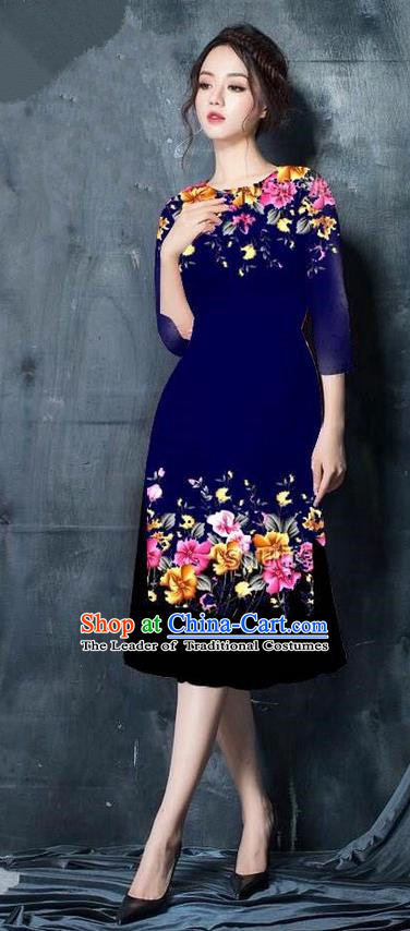 Top Grade Asian Vietnamese Costumes Classical Jing Nationality Short Cheongsam, Vietnam National Vietnamese Bride Traditional Princess Navy Ao Dai Dress