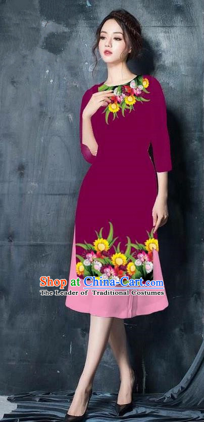 Top Grade Asian Vietnamese Costumes Classical Jing Nationality Short Cheongsam, Vietnam National Vietnamese Bride Traditional Princess Wine Red Ao Dai Dress