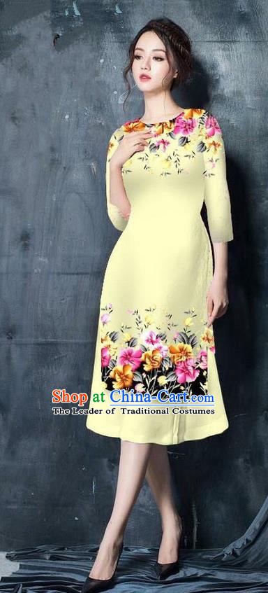 Top Grade Asian Vietnamese Costumes Classical Jing Nationality Short Printing Flowers Cheongsam, Vietnam National Vietnamese Bride Traditional Princess Light Yellow Ao Dai Dress