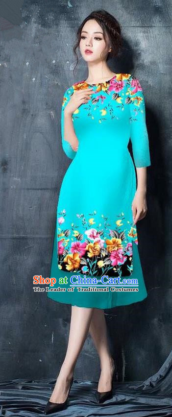 Top Grade Asian Vietnamese Costumes Classical Jing Nationality Short Printing Flowers Cheongsam, Vietnam National Vietnamese Bride Traditional Princess Blue Ao Dai Dress