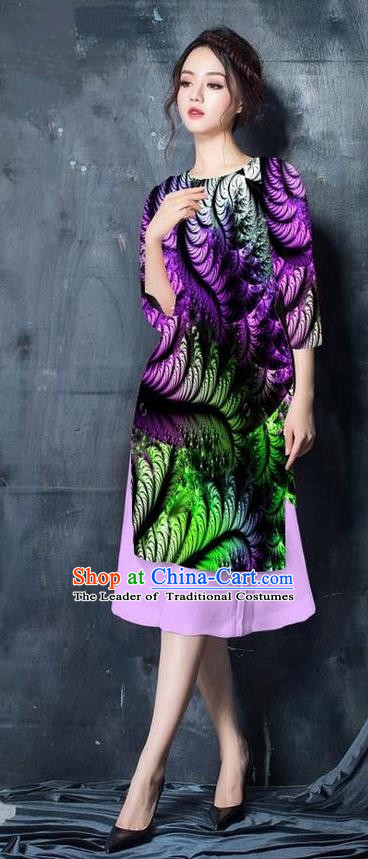 Top Grade Asian Vietnamese Costumes Classical Jing Nationality Printing Short Cheongsam, Vietnam National Vietnamese Bride Traditional Princess Purple Ao Dai Dress