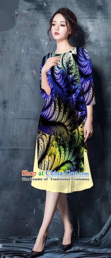 Top Grade Asian Vietnamese Costumes Classical Jing Nationality Printing Short Cheongsam, Vietnam National Vietnamese Bride Traditional Princess Blue Ao Dai Dress
