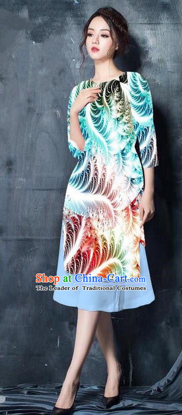 Top Grade Asian Vietnamese Costumes Classical Jing Nationality Printing Short Cheongsam, Vietnam National Vietnamese Bride Traditional Princess Light Blue Ao Dai Dress