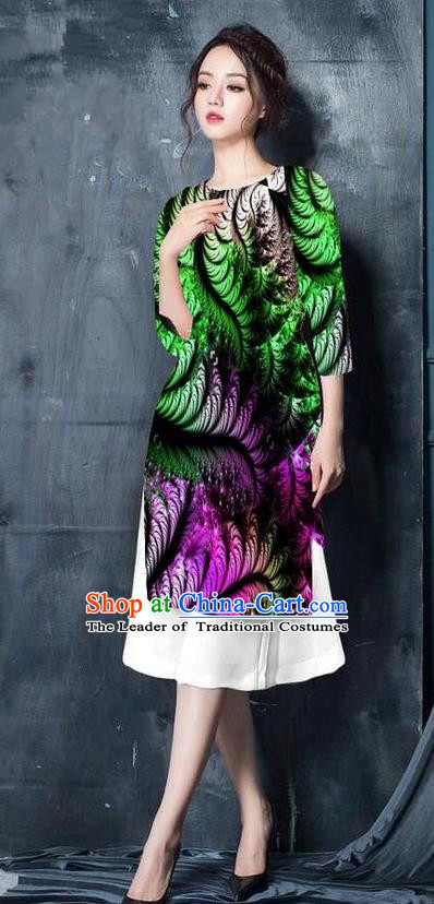 Top Grade Asian Vietnamese Costumes Classical Jing Nationality Printing Short Cheongsam, Vietnam National Vietnamese Bride Traditional Princess Green Ao Dai Dress