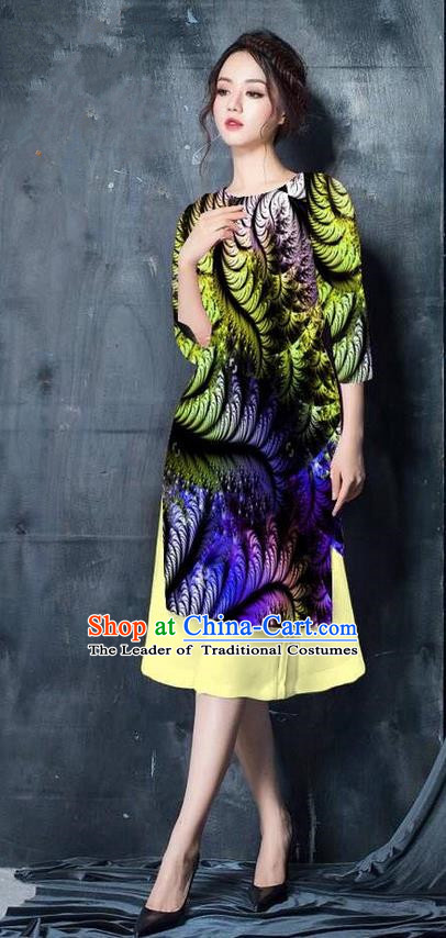 Top Grade Asian Vietnamese Costumes Classical Jing Nationality Printing Short Cheongsam, Vietnam National Vietnamese Bride Traditional Princess Olive Green Ao Dai Dress