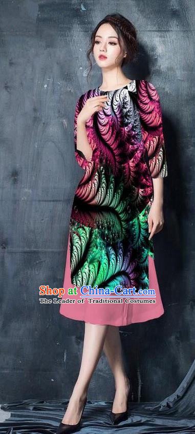 Top Grade Asian Vietnamese Costumes Classical Jing Nationality Printing Short Cheongsam, Vietnam National Vietnamese Bride Traditional Princess Pink Ao Dai Dress