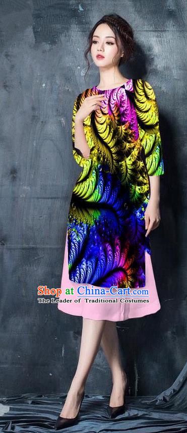 Top Grade Asian Vietnamese Costumes Classical Jing Nationality Printing Short Cheongsam, Vietnam National Vietnamese Bride Traditional Princess Yellow Ao Dai Dress