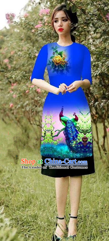 Top Grade Asian Vietnamese Costumes Classical Jing Nationality Peacock Pattern Short Cheongsam, Vietnam National Clothing Bride Traditional Royalblue Ao Dai Dress