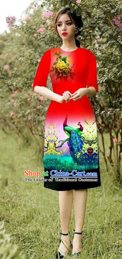 Top Grade Asian Vietnamese Costumes Classical Jing Nationality Peacock Pattern Short Cheongsam, Vietnam National Clothing Bride Traditional Red Ao Dai Dress