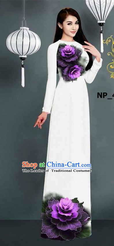 Top Grade Asian Vietnamese Costumes Classical Jing Nationality Printing Long Cheongsam, Vietnam National Clothing Bride Traditional White Ao Dai Dress