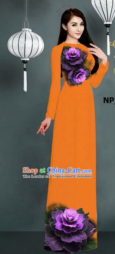 Top Grade Asian Vietnamese Costumes Classical Jing Nationality Printing Long Cheongsam, Vietnam National Clothing Bride Traditional Orange Ao Dai Dress