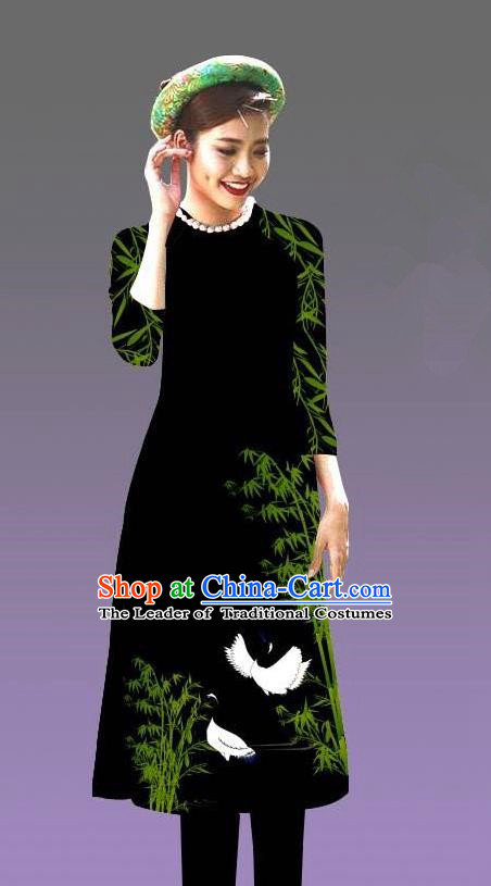 Top Grade Asian Vietnamese Costumes Classical Jing Nationality Crane Pattern Short Cheongsam, Vietnam National Clothing Bride Traditional Black Ao Dai Dress