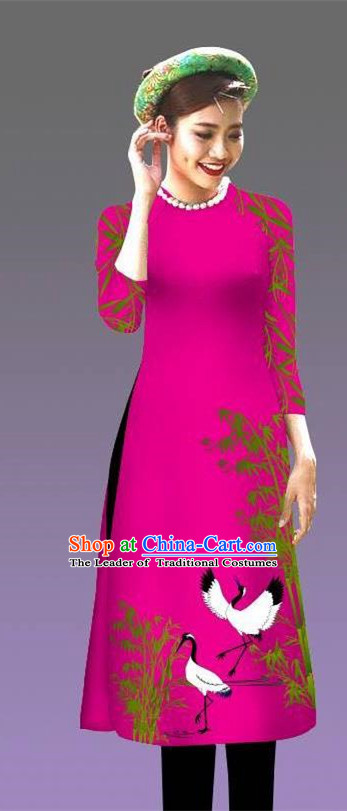 Top Grade Asian Vietnamese Costumes Classical Jing Nationality Crane Pattern Short Cheongsam, Vietnam National Clothing Bride Traditional Rosy Ao Dai Dress