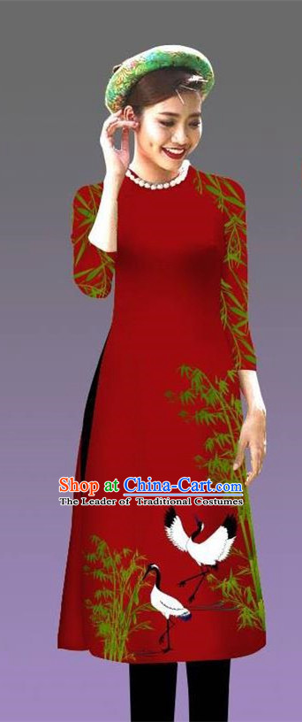 Top Grade Asian Vietnamese Costumes Classical Jing Nationality Crane Pattern Short Cheongsam, Vietnam National Clothing Bride Traditional Wine Red Ao Dai Dress