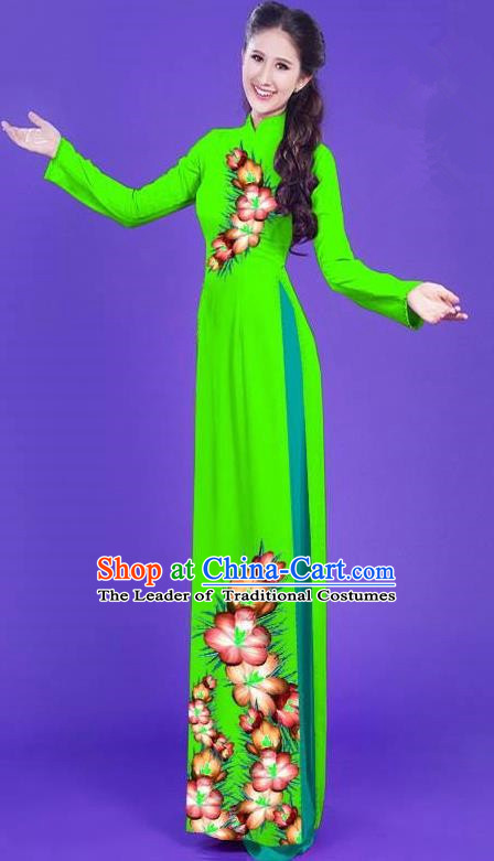 Top Grade Asian Vietnamese Costumes Classical Jing Nationality Long Printing Flowers Cheongsam, Vietnam National Vietnamese Bride Traditional Princess Green Ao Dai Dress