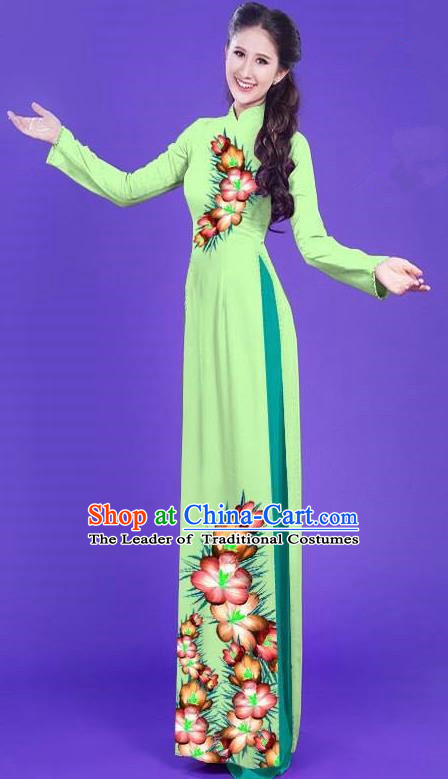 Top Grade Asian Vietnamese Costumes Classical Jing Nationality Long Printing Flowers Cheongsam, Vietnam National Vietnamese Bride Traditional Princess Light Green Ao Dai Dress
