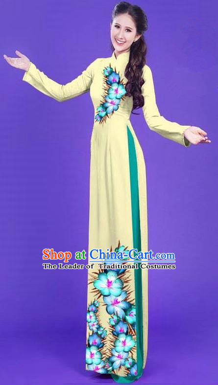 Top Grade Asian Vietnamese Costumes Classical Jing Nationality Long Printing Flowers Cheongsam, Vietnam National Vietnamese Bride Traditional Princess Light Yellow Ao Dai Dress
