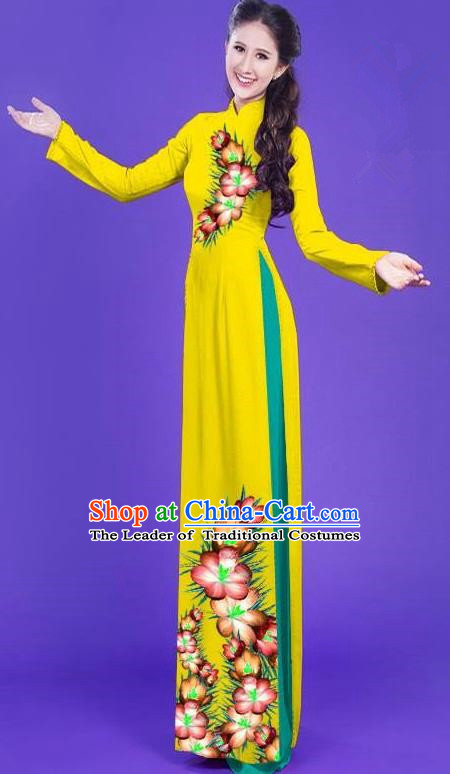 Top Grade Asian Vietnamese Costumes Classical Jing Nationality Long Printing Flowers Cheongsam, Vietnam National Vietnamese Bride Traditional Princess Yellow Ao Dai Dress