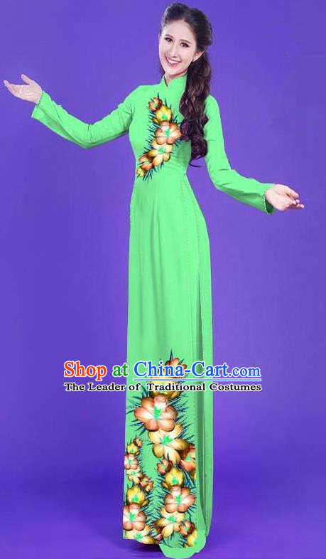 Top Grade Asian Vietnamese Costumes Classical Jing Nationality Long Printing Flowers Cheongsam, Vietnam National Vietnamese Bride Traditional Princess Grass Green Ao Dai Dress