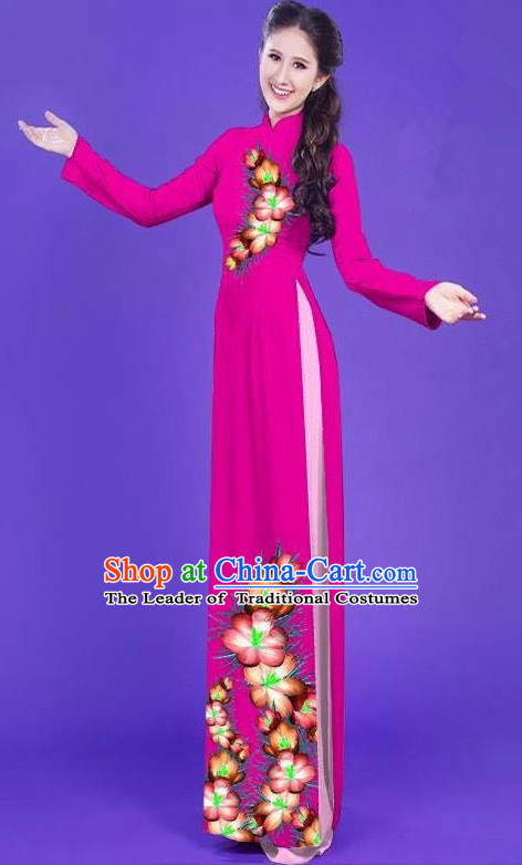 Top Grade Asian Vietnamese Costumes Classical Jing Nationality Long Printing Flowers Cheongsam, Vietnam National Vietnamese Bride Traditional Princess Rosy Ao Dai Dress