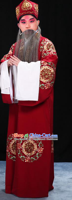 Traditional Chinese Beijing Opera Old Man Clothing and Shoes Complete Set, China Peking Opera Ministry Councillor Costume Embroidered Robe Opera Costumes