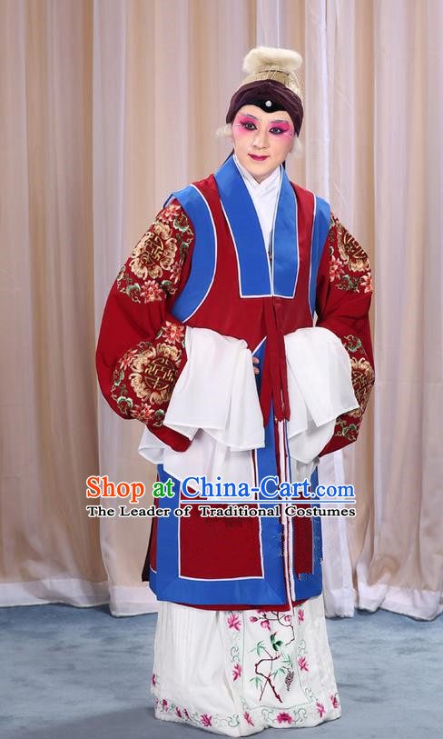 Traditional Chinese Beijing Opera Old Female Red Vest and Robes Complete Set, China Peking Opera Pantaloon Costume Embroidered Clothing Opera Costumes