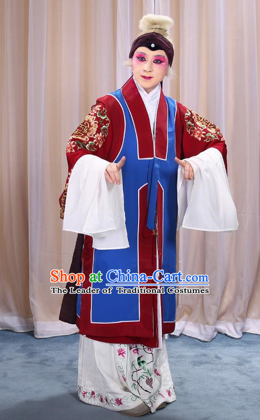 Traditional Chinese Beijing Opera Old Female Blue Vest and Robes Complete Set, China Peking Opera Pantaloon Costume Embroidered Clothing Opera Costumes