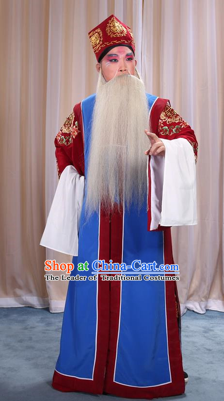 Traditional Chinese Beijing Opera Old Male Blue Long Vest and Clothing Complete Set, China Peking Opera Laosheng-role Costume Embroidered Clothing Opera Costumes