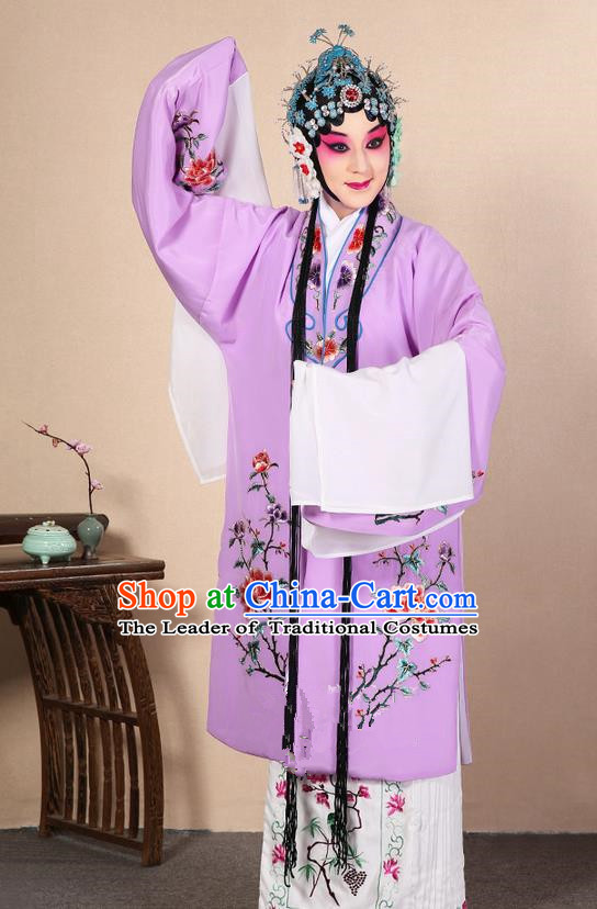 Traditional Chinese Beijing Opera Huangmei Opera Female Purple Clothing and Headwear Complete Set, China Peking Opera Diva Role Hua Tan Costume Embroidered Opera Costumes