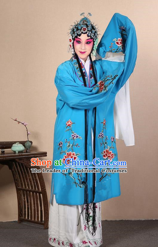 Traditional Chinese Beijing Opera Huangmei Opera Female Sky Blue Clothing and Headwear Complete Set, China Peking Opera Diva Role Hua Tan Costume Embroidered Opera Costumes