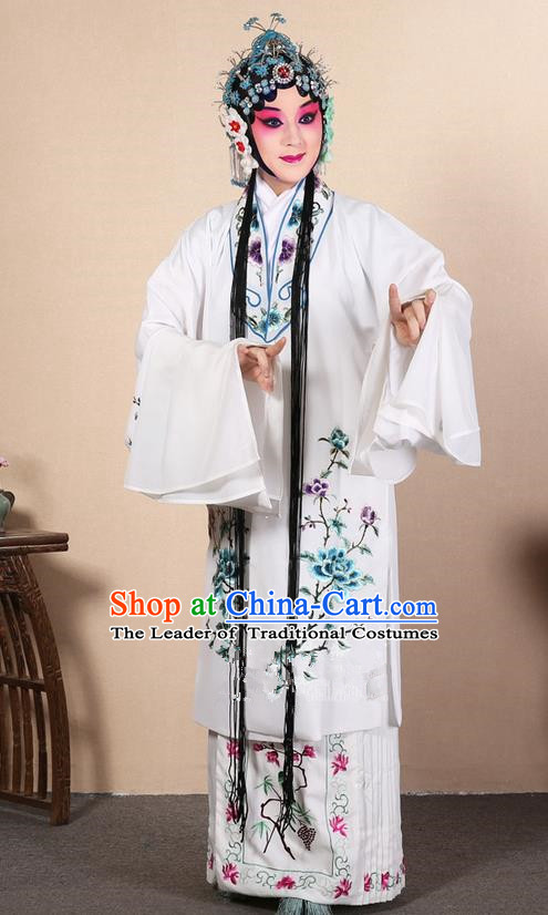 Traditional Chinese Beijing Opera Huangmei Opera Female White Clothing and Headwear Complete Set, China Peking Opera Diva Role Hua Tan Costume Embroidered Opera Costumes