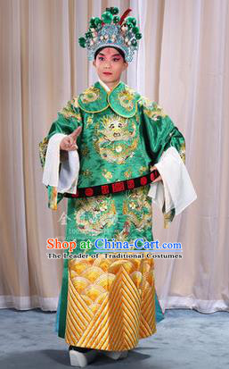 Traditional Chinese Beijing Opera Male Green Clothing and Belts Complete Set, China Peking Opera His Royal Highness Costume Embroidered Robe Opera Costumes