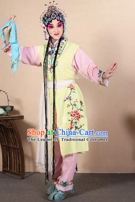 Traditional Chinese Beijing Opera Shaoxing Opera Young Female Yellow Vest Clothing Complete Set, China Peking Opera Diva Role Hua Tan Costume Embroidered Opera Costumes
