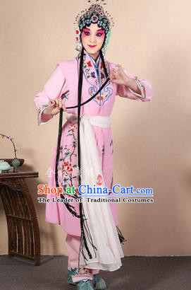 Traditional Chinese Beijing Opera Shaoxing Opera Young Female Pink Vest Clothing Complete Set, China Peking Opera Diva Role Hua Tan Costume Embroidered Opera Costumes