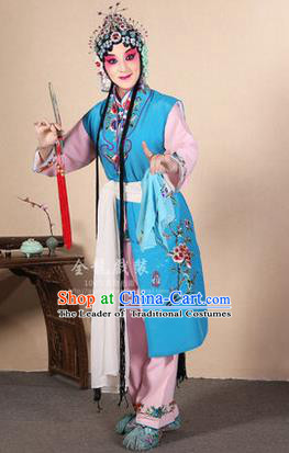 Traditional Chinese Beijing Opera Shaoxing Opera Young Female Blue Vest Clothing Complete Set, China Peking Opera Diva Role Hua Tan Costume Embroidered Opera Costumes