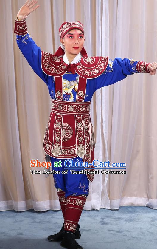 Traditional Chinese Beijing Opera Takefu Red Clothing Complete Set, China Peking Opera Martial Role Costume Embroidered Opera Costumes