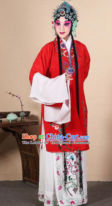 Traditional Chinese Beijing Opera Huangmei Opera Female Red Clothing and Headwear Complete Set, China Peking Opera Diva Role Hua Tan Costume Embroidered Opera Costumes