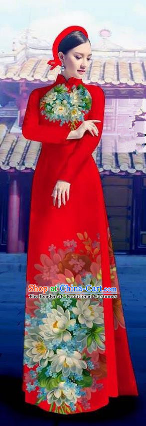 Top Grade Asian Vietnamese Costumes Classical Jing Nationality Long Red Cheongsam, Vietnam National Clothing Vietnamese Bride Traditional Printing Flowers Ao Dai Dress