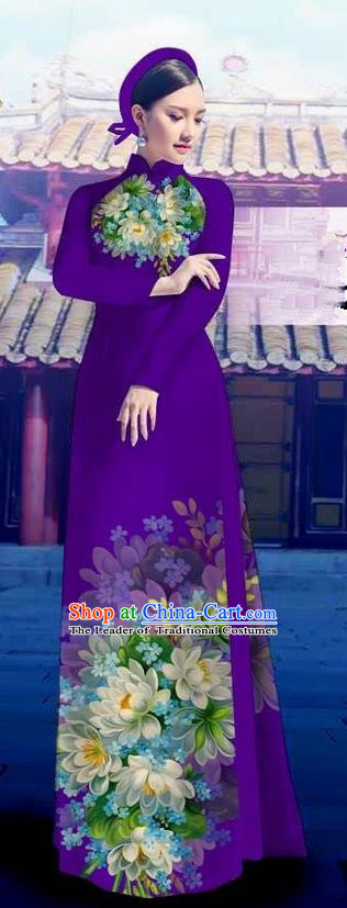 Top Grade Asian Vietnamese Costumes Classical Jing Nationality Long Purple Cheongsam, Vietnam National Clothing Vietnamese Bride Traditional Printing Flowers Ao Dai Dress
