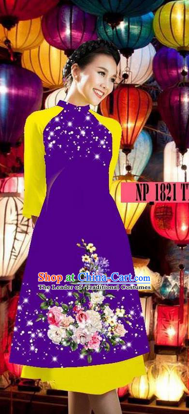 Top Grade Asian Vietnamese Costumes Classical Jing Nationality Purple Cheongsam, Vietnam National Clothing Vietnamese Bride Traditional Printing Ao Dai Dress