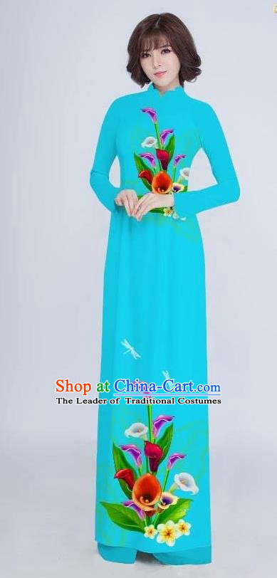 Top Grade Asian Vietnamese Costumes Classical Jing Nationality Long Cheongsam, Vietnam National Clothing Vietnamese Bride Traditional Printing Flowers Blue Ao Dai Dress