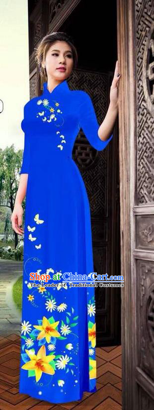 Top Grade Asian Vietnamese Clothing Classical Jing Nationality Long Cheongsam, Vietnam National Bride Traditional Printing Flowers Royalblue Ao Dai Dress for Women