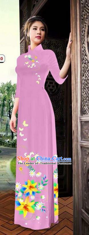 Top Grade Asian Vietnamese Clothing Classical Jing Nationality Long Cheongsam, Vietnam National Bride Traditional Printing Flowers Pink Ao Dai Dress for Women