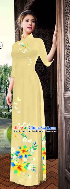 Top Grade Asian Vietnamese Clothing Classical Jing Nationality Long Cheongsam, Vietnam National Bride Traditional Printing Flowers Light Yellow Ao Dai Dress for Women
