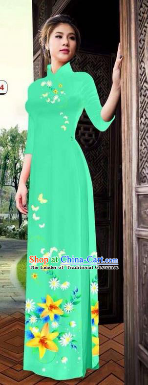 Top Grade Asian Vietnamese Clothing Classical Jing Nationality Long Cheongsam, Vietnam National Bride Traditional Printing Flowers Green Ao Dai Dress for Women