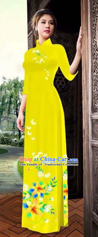 Top Grade Asian Vietnamese Clothing Classical Jing Nationality Long Cheongsam, Vietnam National Bride Traditional Printing Flowers Yellow Ao Dai Dress for Women