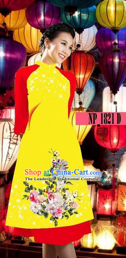Top Grade Asian Vietnamese Costumes Classical Jing Nationality Yellow Cheongsam, Vietnam National Clothing Vietnamese Bride Traditional Printing Ao Dai Dress